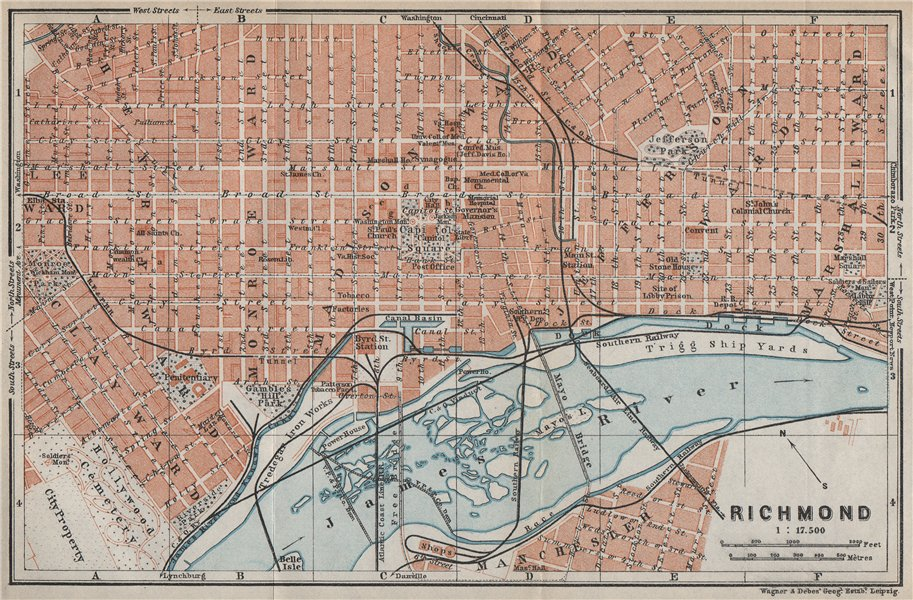 Associate Product RICHMOND antique town city plan. Virginia. BAEDEKER 1909 old map chart