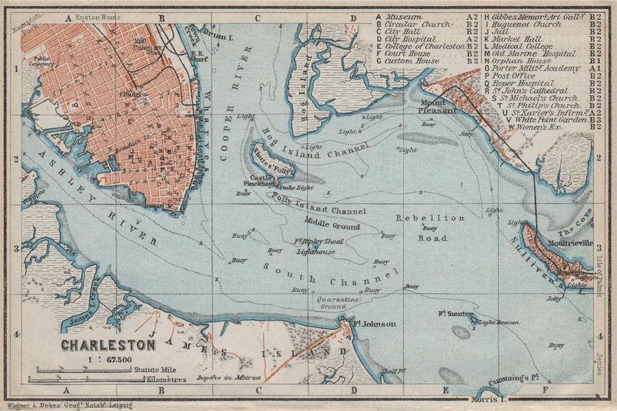 Associate Product CHARLESTON antique town city & harbor plan. South Carolina. BAEDEKER 1909 map