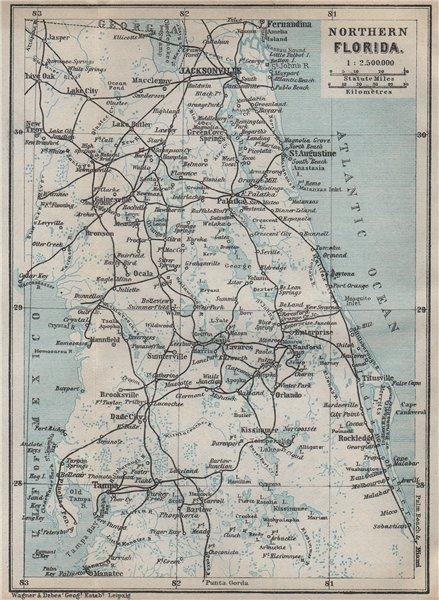 Associate Product NORTHERN FLORIDA. Jacksonville St Augustine Tampa. BAEDEKER 1909 old map