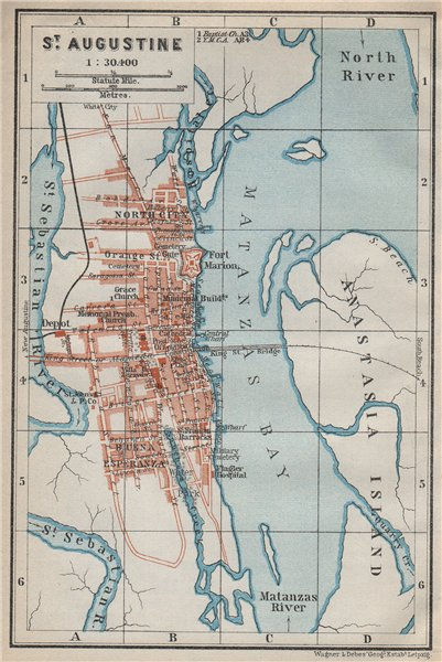 Associate Product ST AUGUSTINE antique town city plan. Florida. BAEDEKER 1909 old map