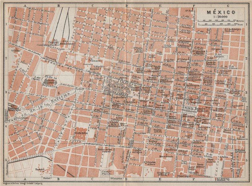 Associate Product MEXICO CITY. MÉXICO antique town ciudad plan mapa. BAEDEKER 1909 old