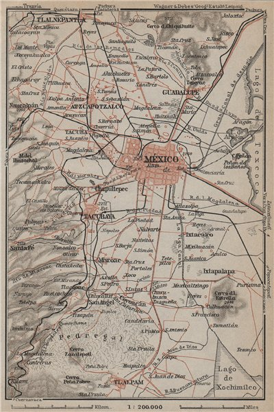 Associate Product MEXICO CITY environs. Tacubaya Atzcapotzalco Tlalpam mapa. BAEDEKER 1909