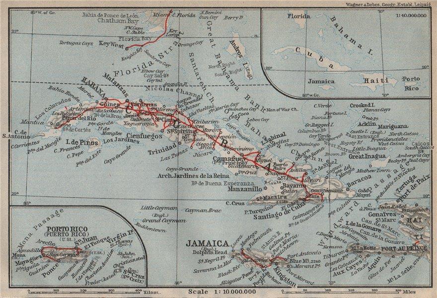Associate Product CUBA PUERTO RICO Jamaica Haiti. Caribbean. BAEDEKER 1909 old antique map chart