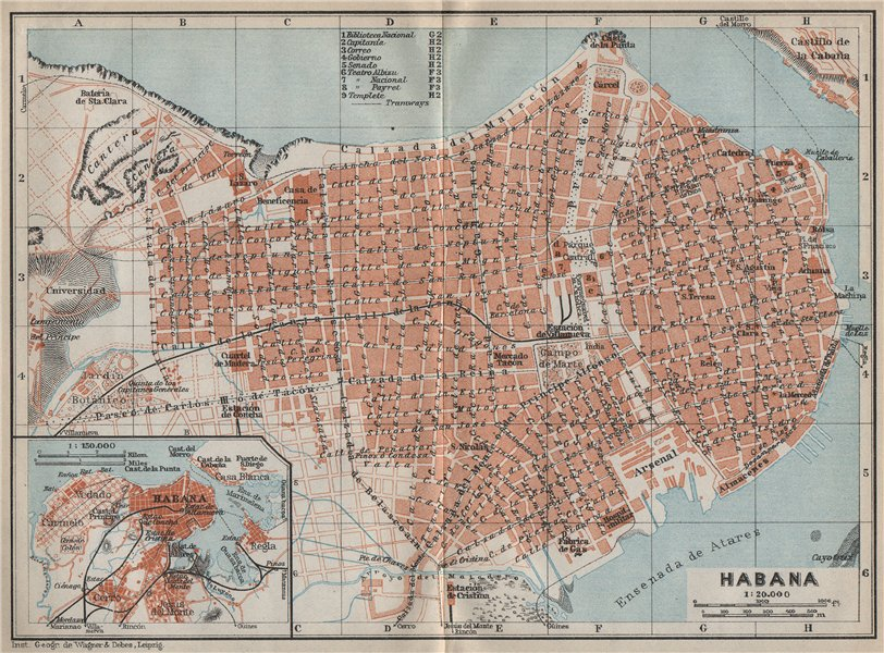 Associate Product HAVANA HABANA antique town city ciudad plan. Cuba. BAEDEKER 1909 old map