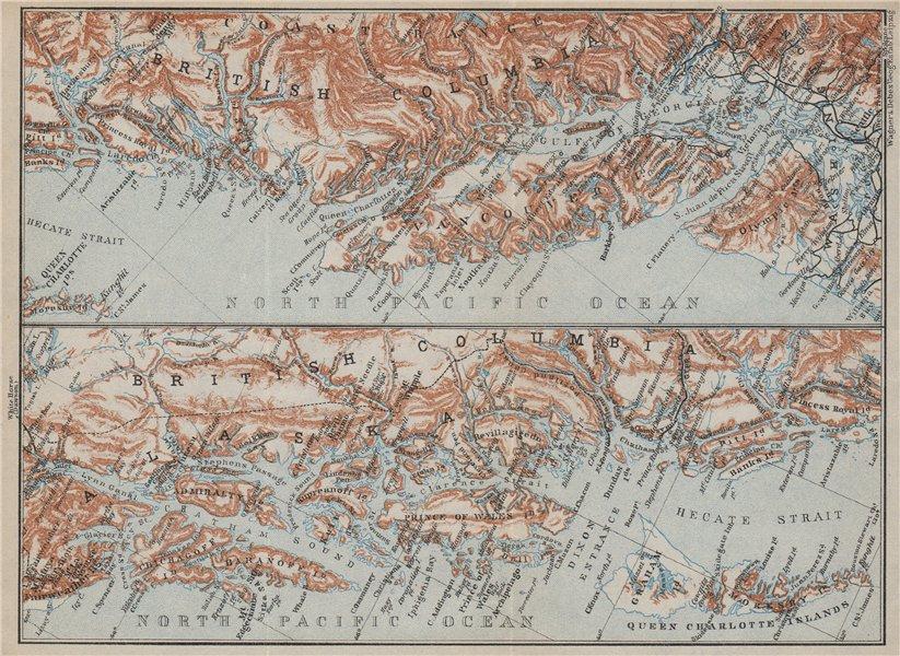 Associate Product BRITISH COLOMBIA & ALASKA COAST. Vancouver & Queen Charlotte Islands 1909 map