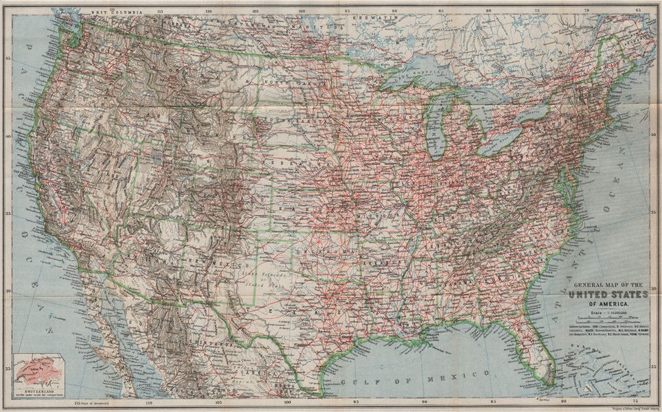 Associate Product UNITED STATES OF AMERICA General map. Railroads. USA. BAEDEKER 1909 old