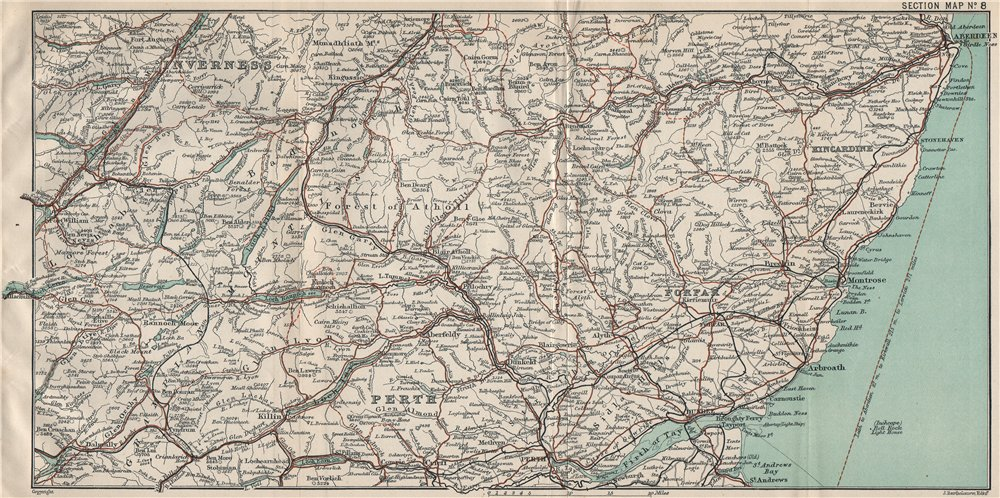 Associate Product SCOTLAND EAST. Perth Forfar Inverness Kincardine Aberdeen Firth of Tay 1908 map