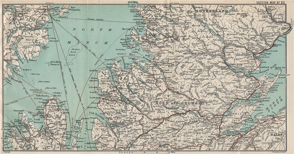 Associate Product SCOTTISH HIGHLANDS & ISLANDS. Ross & Cromarty Sutherland North Minch 1908 map