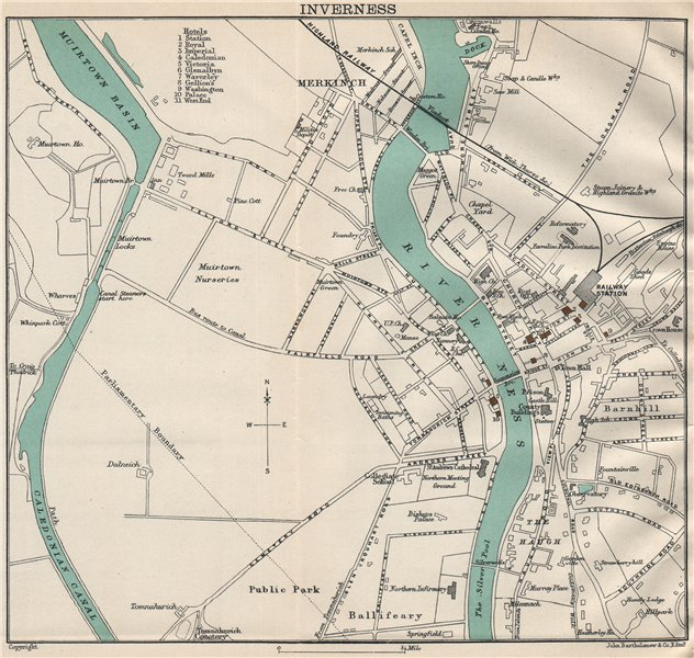 Associate Product INVERNESS town/city plan. Scotland. BARTHOLOMEW 1911 old antique map chart