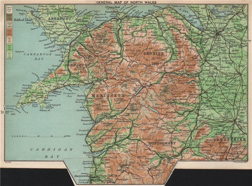 Associate Product NORTH WALES relief. Anglesey Denbigh Carnarvon Merioneth Montgomery 1902 map