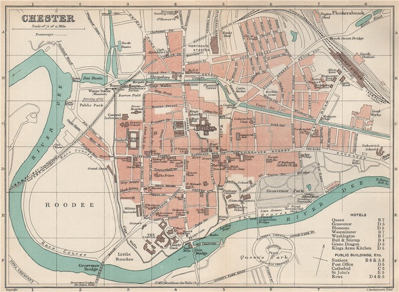 Associate Product CHESTER town/city plan. Wales. BARTHOLOMEW 1902 old antique map chart
