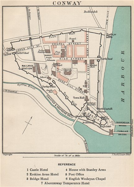 Associate Product CONWAY town/city plan. Wales. BARTHOLOMEW 1902 old antique map chart