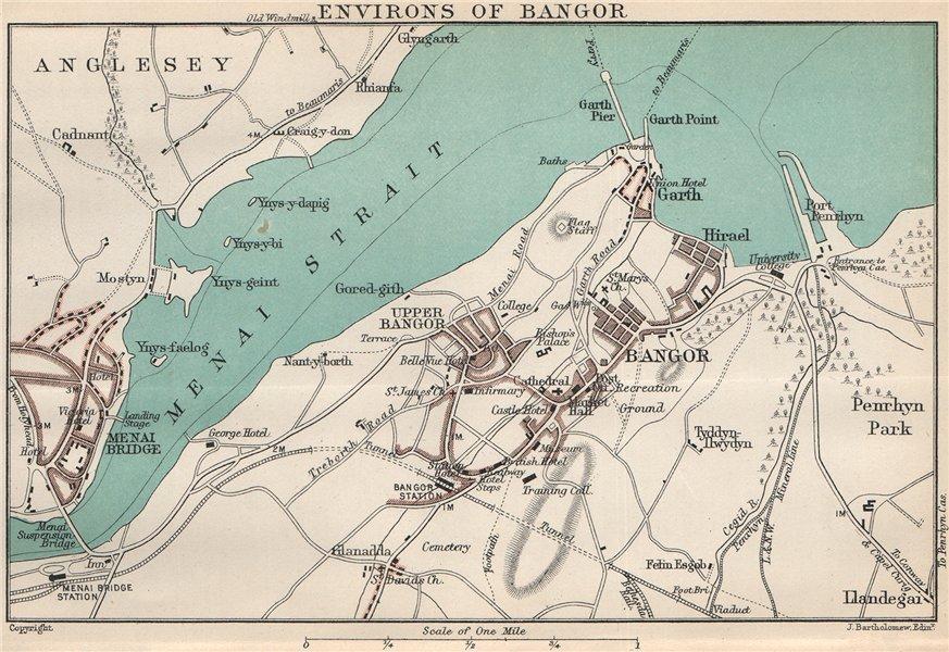 Associate Product BANGOR. Town/city plan & environs. Menai Bridge. Menai Strait. Anglesey 1902 map