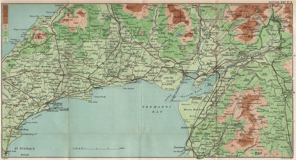 Associate Product TREMADOC BAY. Criccieth Porthamadog Pwllheli Rhinogydd Traeth Bach 1902 map