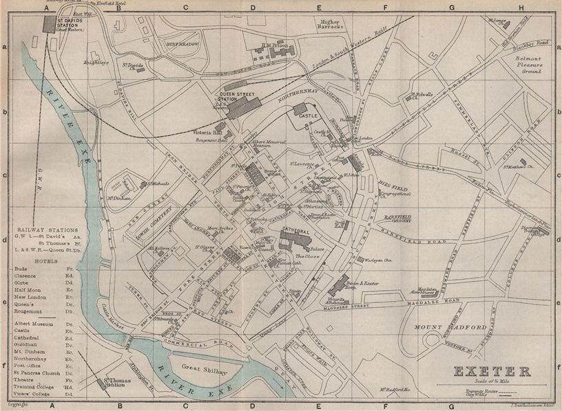 Associate Product EXETER town/city plan. Devon. BARTHOLOMEW 1892 old antique map chart