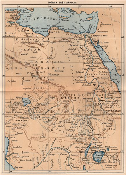 Associate Product North East Africa 1885 old antique vintage map plan chart