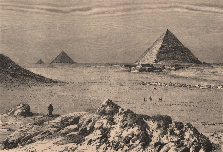 Associate Product Second, Third and Fourth Pyramids. Egypt 1885 old antique print picture