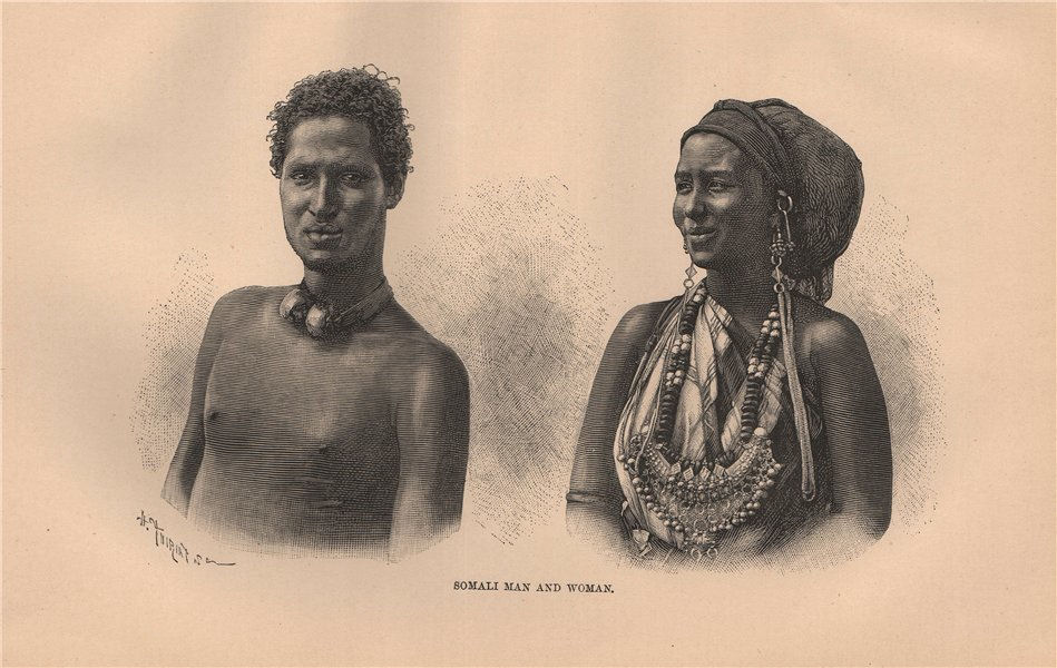 Somali man and woman. Somalia 1885 old antique vintage print picture