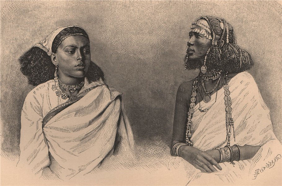 Associate Product Shaikieh Arab and Ethiopian female Slaves at Khartoum. Sudan 1885 old print