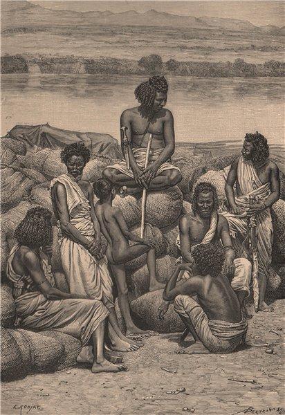 Associate Product Bishari gum-dealers at Korosko. Sudan 1885 old antique vintage print picture