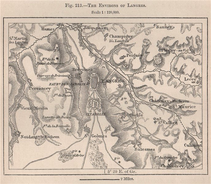 Associate Product The environs of Langres. Haute-Marne 1885 old antique vintage map plan chart