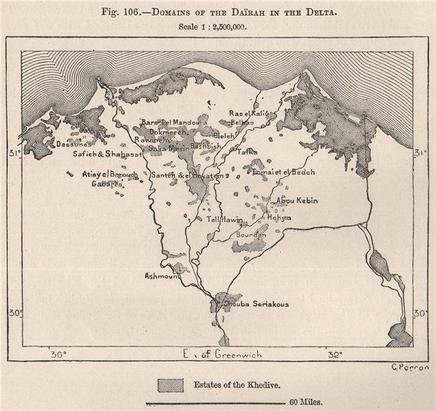 Associate Product Domains of the Daïrah in the Delta. Egypt 1885 old antique map plan chart