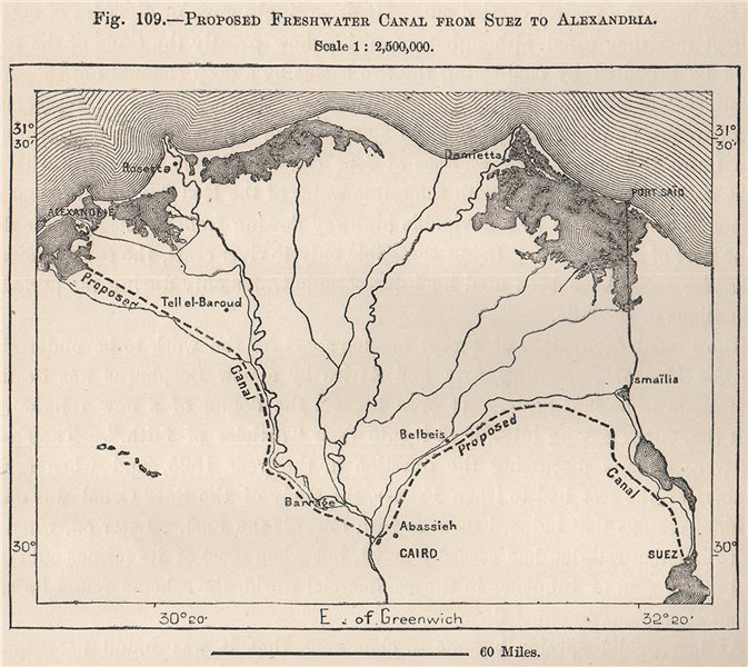 Associate Product Proposed Freshwater Canal from Suez to Alexandria. Egypt 1885 old antique map
