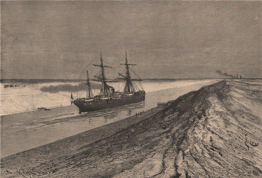 Associate Product Suez Canal at the Serapeum. Egypt 1885 old antique vintage print picture