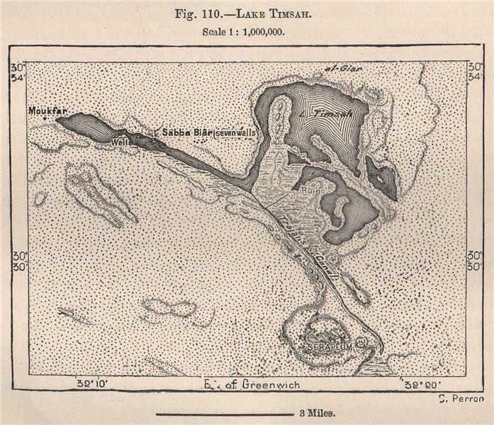 Associate Product Lake Timsah. Egypt 1885 old antique vintage map plan chart