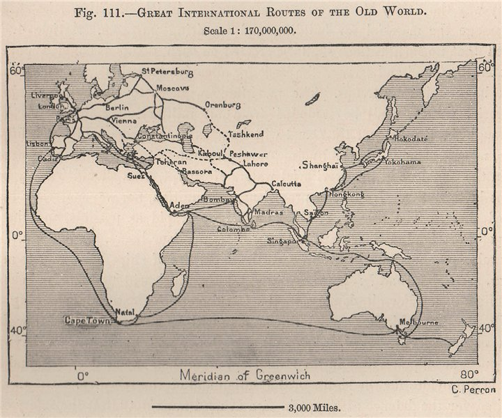 Associate Product Great International routes of the Old World 1885 antique map plan chart
