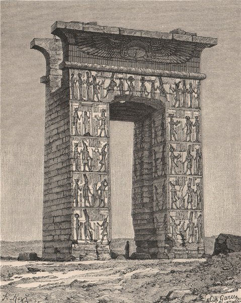 Associate Product Ruins of Thebes. Propylon, or Northern Gate. Egypt 1885 old antique print
