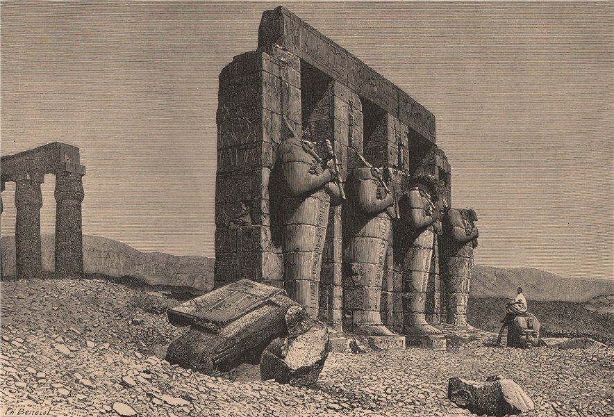 Associate Product Colossal Statues of the Ramesseum at Thebes. Egypt 1885 old antique print