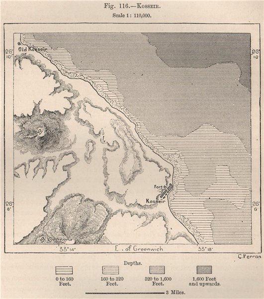 Associate Product Al-Qusair. Al-Qusayr. Egypt 1885 old antique vintage map plan chart