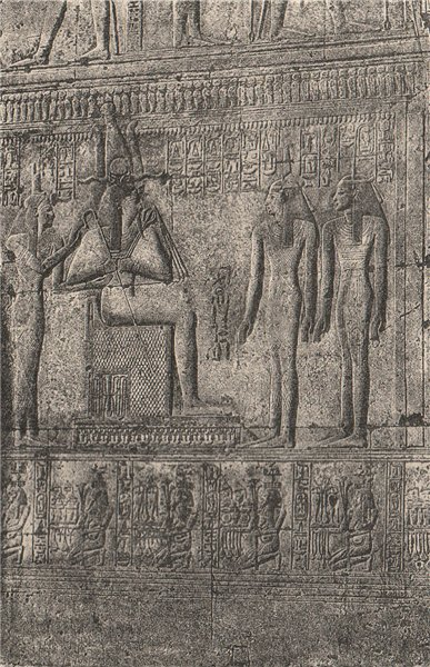 Associate Product Abydos. Bas-relief in the Temple of Seti I, scene of Adoration. Egypt 1885