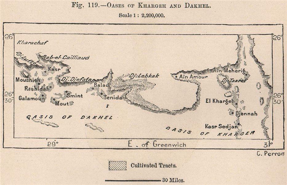 Associate Product Oases of Kharga/Al-Kharijah and Dakhla. Egypt 1885 old antique map plan chart