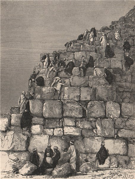 Associate Product Ascent of the great Pyramid. Egypt 1885 old antique vintage print picture
