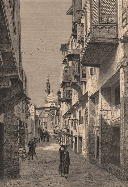 Associate Product A street in the old town, Cairo. Egypt 1885 antique vintage print picture