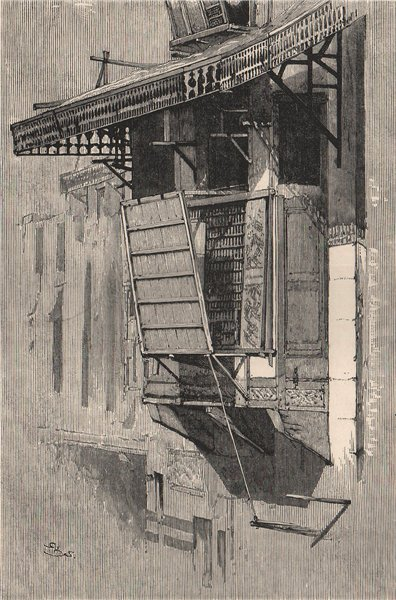 Associate Product Moucharabieh, with screen to conceal inmates from neighbours. Egypt 1885 print