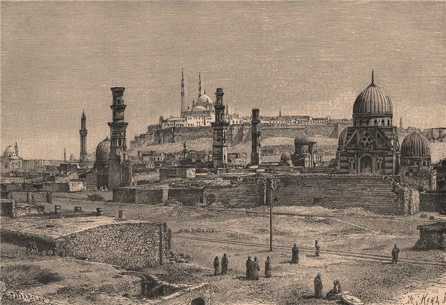 Associate Product Citadel of Cairo. Egypt 1885 old antique vintage print picture