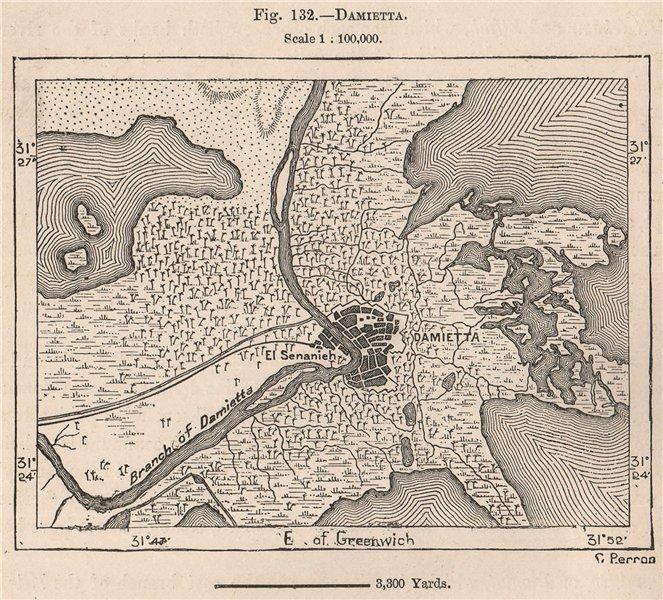 Damietta. Egypt 1885 old antique vintage map plan chart