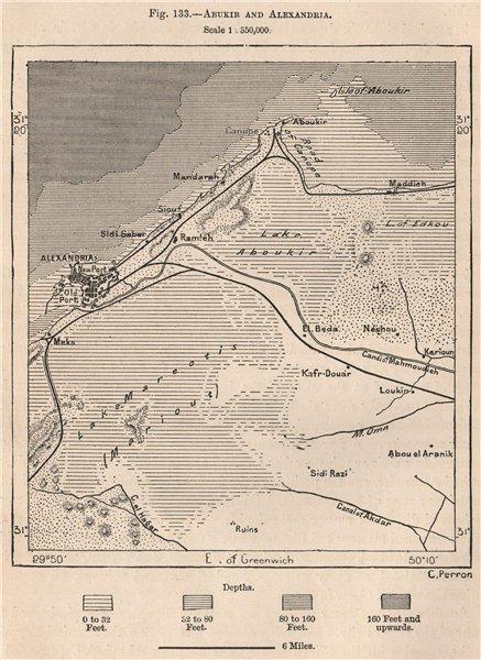 Associate Product Abukir/Abu Qir and Alexandria. Egypt 1885 old antique vintage map plan chart