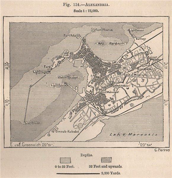 Associate Product Alexandria. Egypt 1885 old antique vintage map plan chart