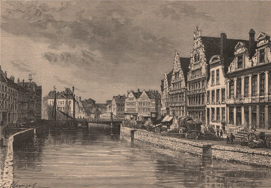 Associate Product Ghent - The Corn Quay. Belgium 1885 old antique vintage print picture