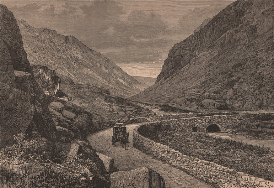 Associate Product Pass of Llanberis. Wales 1885 old antique vintage print picture