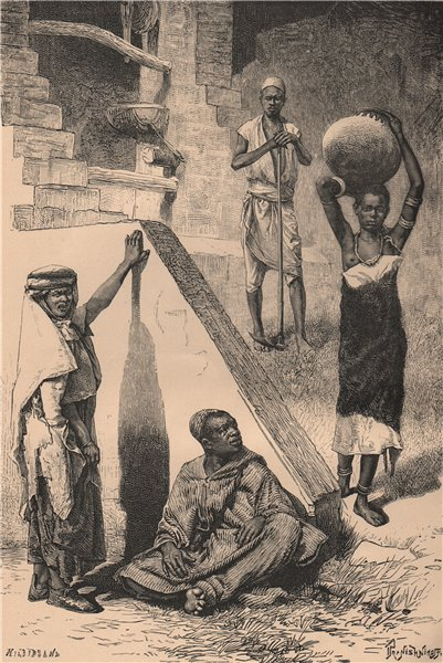 Associate Product Arabs, Sudanese Negro and Female Shilluk slave 1885 old antique print picture