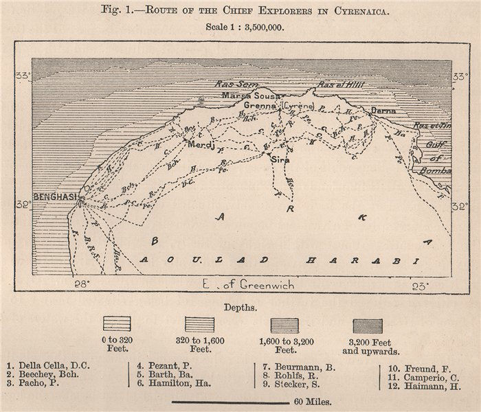 Route of the chief explorers in Cyrenaica. Libya. Tripolitana 1885 old map