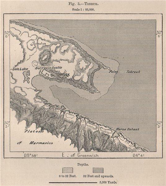 Associate Product Tobruk. Libya. Tripolitana 1885 old antique vintage map plan chart