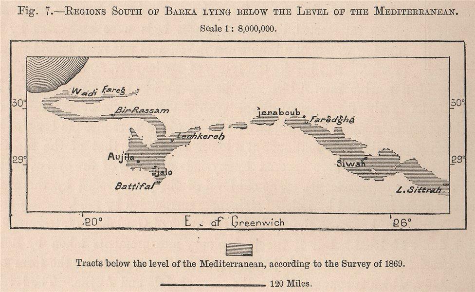 Associate Product Regions South of Barca lying below sea level. Libya. Awjila Oases 1885 old map
