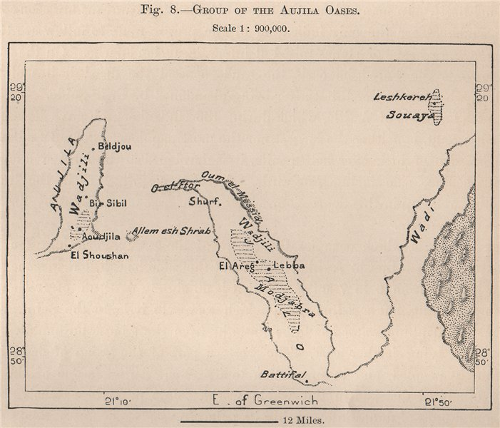 Associate Product Group of The Aujila Oases. Libya 1885 old antique vintage map plan chart