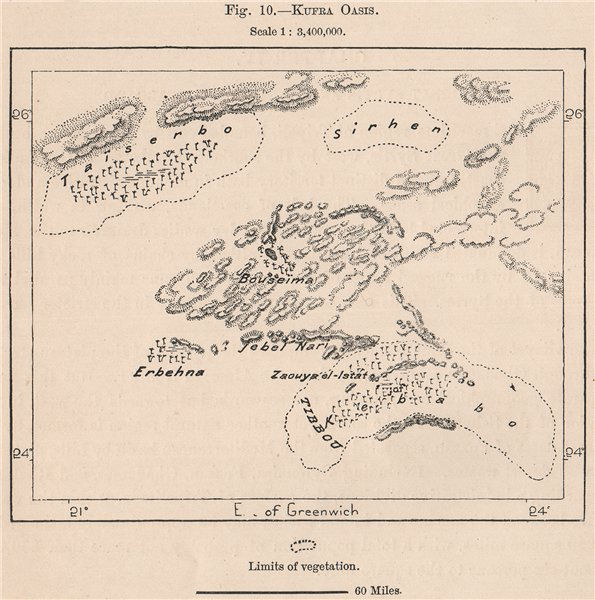 Associate Product Kufra Oasis. Libya. The Kufra Oases 1885 old antique vintage map plan chart